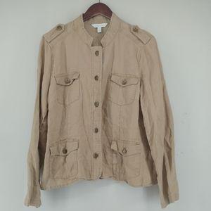 Relativity Linen Utility Military Style Jacket